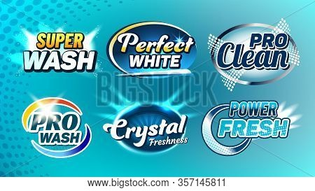 Washing Cleaner Creative Company Logo Set Vector. Super Wash And Perfect White, Pro Clean, Crystal F