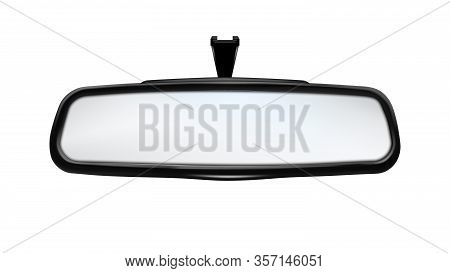 Rearview Mirror Car Traffic Safety Tool Vector. Rear-view Mirror Showing Barriers And Transport Park