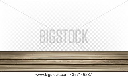 Wooden House Floor Parquet Interior Detail Vector. Light Stylish Parquet, Natural Wood Material Room
