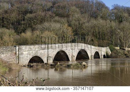 High Water On River Wye At Kerne Bridge Near Ross-on-wye, Herefordshire, Uk  Grade Ii Listed Bridge