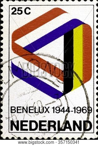 02 08 2020 Divnoe Stavropol Territory Russia Postage Stamp Netherlands 1969 The 25th Anniversary Of