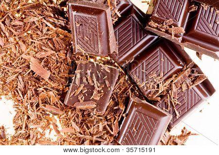 slices of dark bitter chocolate