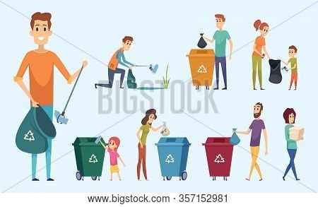 Recycling Garbage. People Sorting Waste Protect Environment Garbage Separation Process Vector Charac