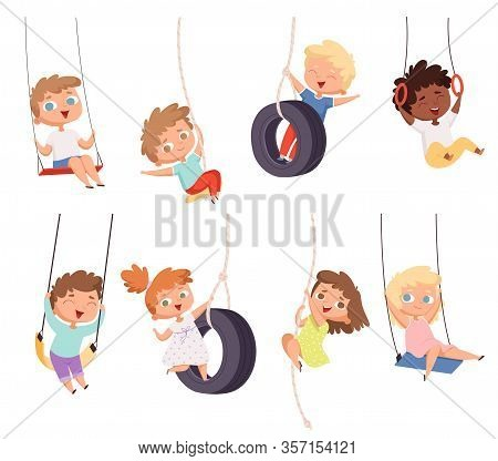Swing Rides. Gymnastic Exercise Of Childrens On Rope Amusement Attraction Happy Kids Vector Set. Chi