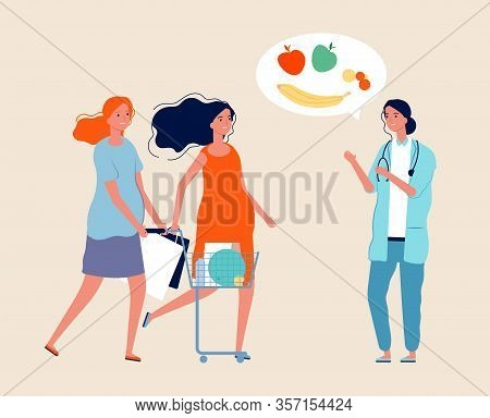 Healthy Lifestyle. Nutritionist, Pregnant Women With Food. Expectant Mothers With Shopping. Doctor T