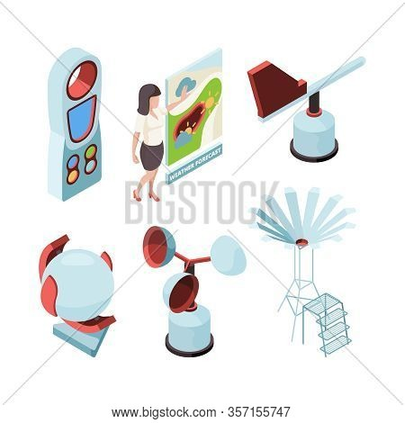 Weather Equipment. Meteorologic Station Observing Office Forecast Presenter Place Vector Isometric S