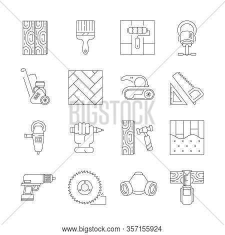 Wood Flooring. Laminate Carpenter Repair Parquet Oak Flooring Fixing Vector Icon Set. Wood Timber Pa
