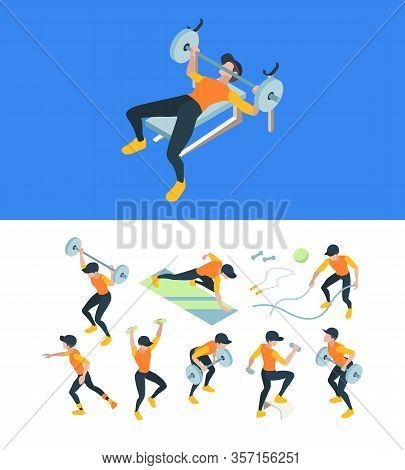 Gym Training. Fitness Workout People Making Sport Exercises Muscle Athletes Vector Isometric Illustr