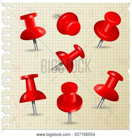 Red Pins. Thumbtack Push Paper Notes On Board Memo Pins Stationery Items Vector Collection. Fix Pin,