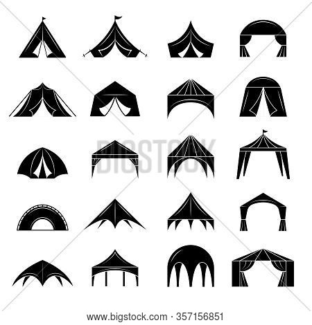 Event Tent. Marquee From Black Canvas Pavilion For Party Events Vector Silhouettes Collection. Foldi