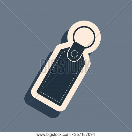 Black Rectangular Key Chain With Ring For Key Icon Isolated On Grey Background. Long Shadow Style. V