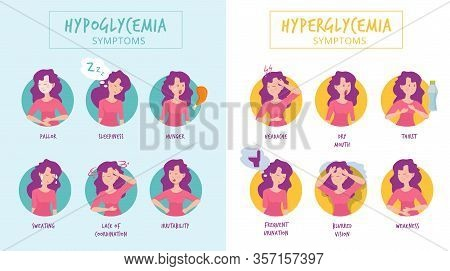 Hypoglycemia Symptoms. Hyperglycemia Illnesses Medical Infographics Woman Diabetes Vector Pictures.