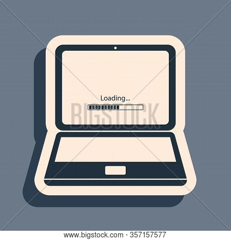 Black Laptop Update Process With Loading Bar Icon Isolated On Grey Background. System Software Updat