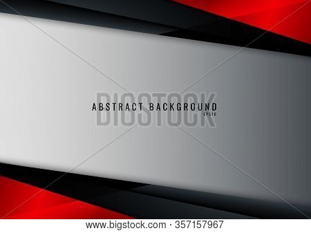Template Technology Corporate Concept Abstract Triangle Geometric Black And Red On White Background