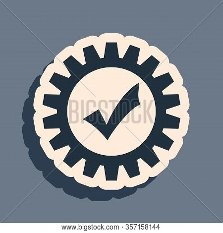 Black Gear With Check Mark Icon Isolated On Grey Background. Cogwheel Simple Icon. Approved Service