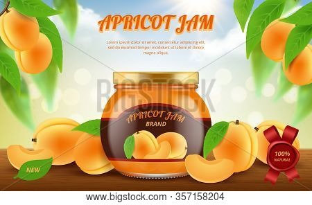 Jam Ads. Traditional Food In Glass Jar Jamming Marmalade Products Vector Promotional Placard Templat