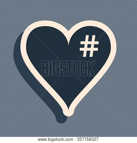 Black The Hash Love Icon. Hashtag Heart Symbol Icon Isolated On Grey Background. Long Shadow Style.