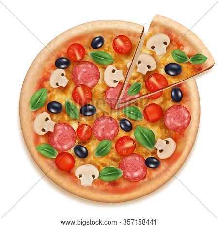 Pizza Realistic. Fast Food Eating Tasty Products Cheese Fresh Meal And Vegetables Round Pizza With S