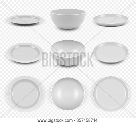 Ceramic Utensils. Kitchen Elegant Empty Plates Dishes Bowls For Food Vector Collection Set. Illustra
