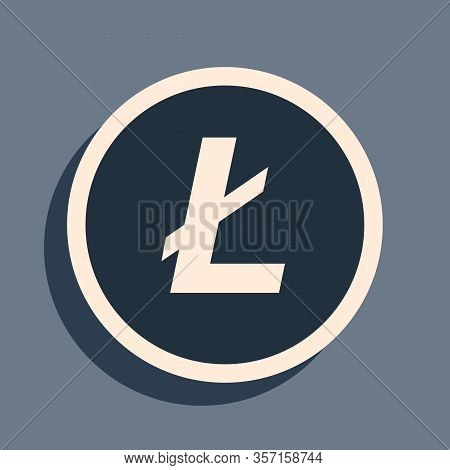 Black Cryptocurrency Coin Litecoin Ltc Icon On Grey Background. Physical Bit Coin. Digital Currency.