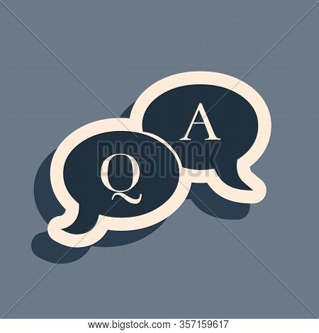 Black Question And Answer Mark In Speech Bubble Icon Isolated On Grey Background. Q And A Symbol. Fa