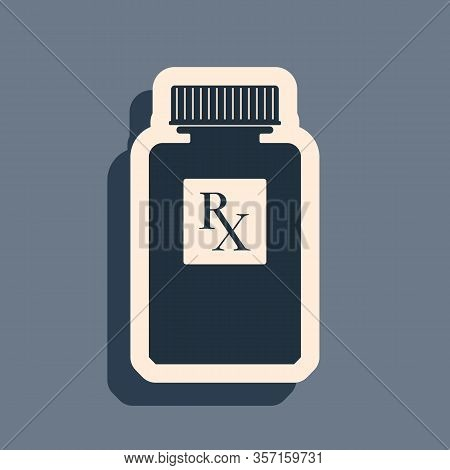 Black Pill Bottle With Rx Sign And Pills Icon Isolated On Grey Background. Pharmacy Design. Rx As A