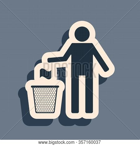 Black Man Throwing Trash Into Dust Bin Icon Isolated On Grey Background. Recycle Symbol. Trash Can S