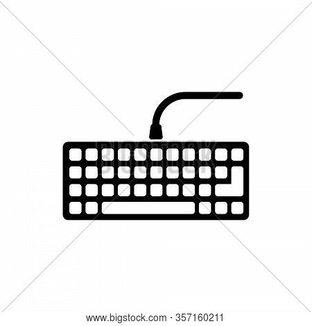 Wired Computer Keyboard, Pc Keypad. Flat Vector Icon Illustration. Simple Black Symbol On White Back