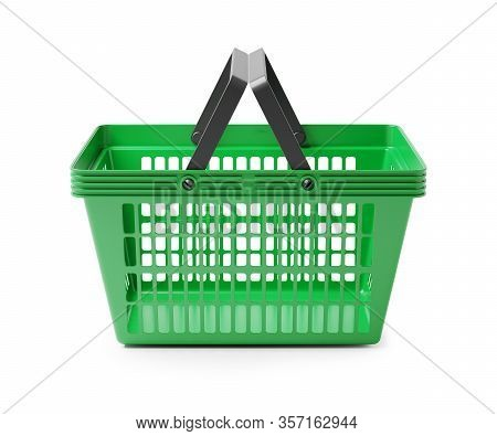 Empty Shopping Basket Isolated On White Background 3d