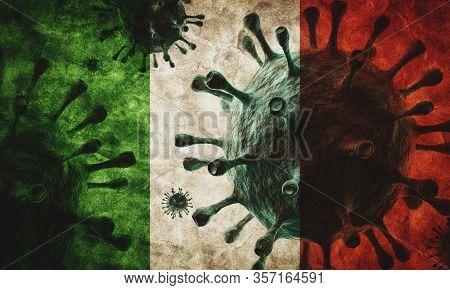 Coronavirus against Italy grunge flag. Virus causing epidemic concept. 3D render