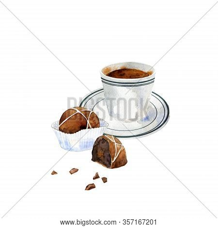 Cup Of Black Coffee With Belgian Chocolate. Hand Drawn Espresso With Pralines Isolated On White. Wat