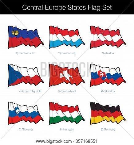 Central Europe States Waving Flag Set. The Set Includes The Flags Of Liechtenstein, Luxemburg, Austr