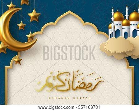 Ramadan Kareem Vector Card With 3d Golden Metal Crescent, Hanging Stars, Paper Cut Clouds, Mosque. A