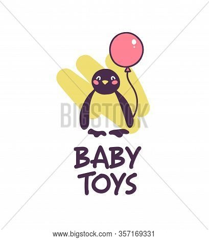 Logo Design For Kid Toys Store, Market, Boutique With Cute Penguin Hold Air Balloon Character Silhou