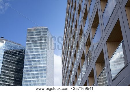 Residential Building And High Rise Office Building. Modern Business City District. Office Buildings