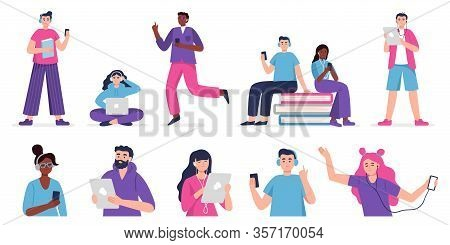 People Listen To Music, Audiobook, Podcast Or Language Lessons. Set Of Vector Illustration People In