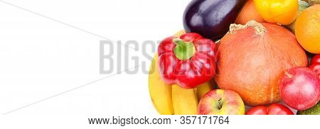 Fruits And Vegetables Isolated On A White Background. Healthy Food. Free Space For Text. Wide Photo