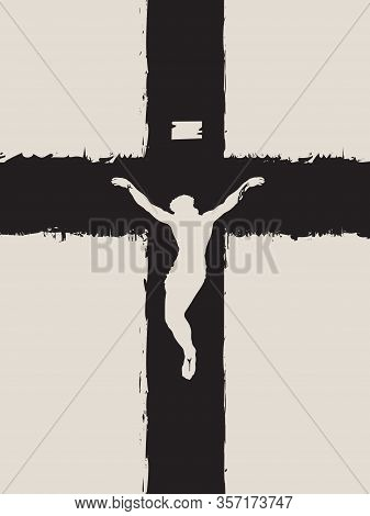 Vector Banner For Easter Sunday Or Good Friday. Illustration On A Religious Theme With A Crucifixion