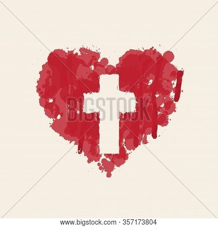 The Sign Of The Religious Cross In The Abstract Red Heart Inside. Love Of God, Catholic And Christia