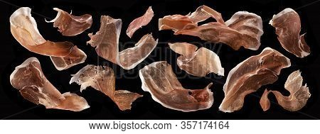 Sliced Jamon, Dry Italian Prosciutto Crudo, Spanish Ham On Black Background