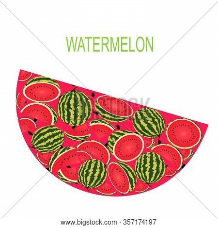Vector Watermelon Icon Made Up Of Whole Watermelons And Slices. Fresh And Juicy Slices Watermelon.