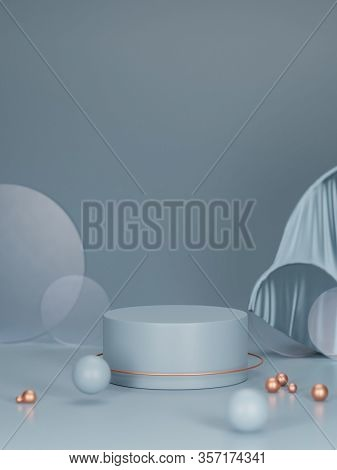 3d Podium, Pedestal On Light Blue Color Background. Tube Stand For Product Promotion. Abstract Platf