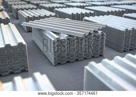 Stacks of metal corrugated sheets, steel zinc or galvanized wave shaped profile  sheets for roof construction. 3d illustration