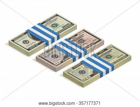 Bank Packaging Of Hundred Dollars, Fifty Dollars And Twenty Dollar Bills. Paper Money, Pile Of 100,