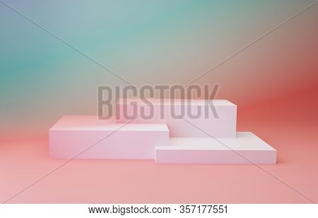Trendy Podium Geometric Shapes. Gradient Cubes Over Gradient Coral Pink And Mint Green Color Backgro
