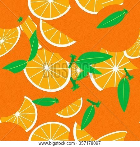 Tropical Seamless Pattern With Oranges. Vector Fruit Background Or Wallpaper.