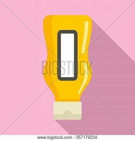 Mustard Bottle Icon. Flat Illustration Of Mustard Bottle Vector Icon For Web Design