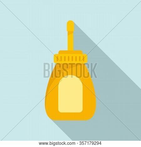 Hot Dog Mustard Bottle Icon. Flat Illustration Of Hot Dog Mustard Bottle Vector Icon For Web Design