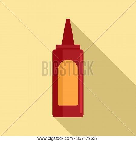 Tasty Ketchup Bottle Icon. Flat Illustration Of Tasty Ketchup Bottle Vector Icon For Web Design