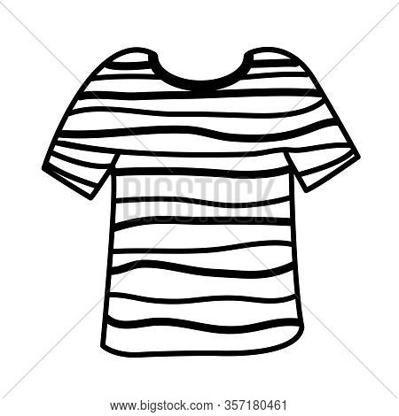 Clip Art Striped Shirt Doodles Isolated On White, T-shirt Art Line Draw Style, Doodle Art Shirt Stri